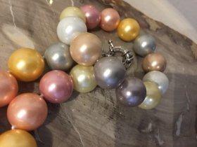 Collier mit Armband Muschel Kern Perle 16 mm Multicolor mit 925 Silber Verschluss
