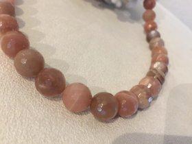 Mondstein Halskette Naturfarben faccetiert Pfirsichfarben