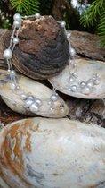 Extra lange Kette mit Labradorith und Perlen