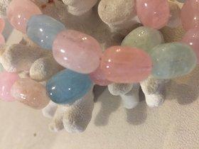 Mehrfarbige Edelsteinkette aus Aquamarin Trommelstein mit 925 Silber Verschluss