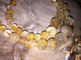 Gelbe Quarzperlen Halskette und Armband - Rutilnadelquarz in gelb mit 925 Silber Verschluss