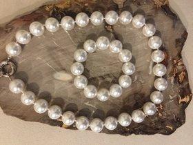 Perlenkette und Armband Champagner - Farbe 16 mm