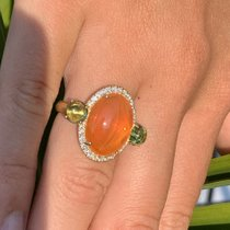Exlusiver Opalring vereint zarte Grüntöne mit dem herrlichen Orange des Feueropales - 750 Gelbgold