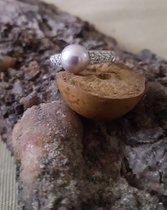 Wunderschöner Perlenring mit tahitifarbener Perle in 925 Sterlingsilber