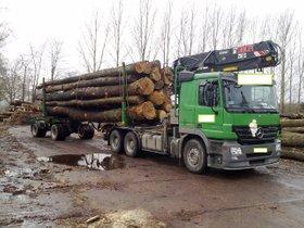 Langholztransporter mit Loglift Ladekran, Huttner Aufbau und Huttner Nachläufer komplett zu verkaufen.