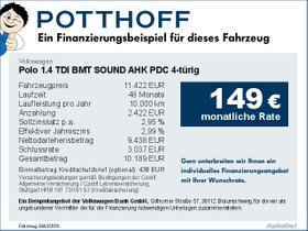 Volkswagen Polo 1,4 TDI BMT SOUND AHK PDC 4-türig