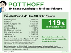 Skoda Fabia Cool Plus 1,0 MPI Klima PDC hinten