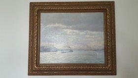 Altes Gemälde - Öl auf Leinwand - Dampfschifffahrt - signiert