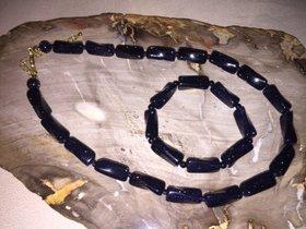 Blaue Sonnenstein Kette und Armband  mit Goldverschluss