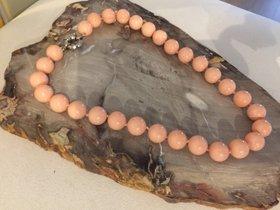 Muschel Kern Perlenkette Lachsfarben 14 mm mit 925 Silberverschluss